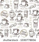 hand drawn doodle coffee pattern | Shutterstock .eps vector #1030778836