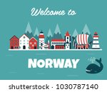 set of norway landmarks. vector ... | Shutterstock .eps vector #1030787140