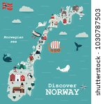 set of norway landmarks. vector ... | Shutterstock .eps vector #1030787503