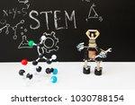 stem education. robot in the... | Shutterstock . vector #1030788154