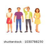 group of young people looking... | Shutterstock .eps vector #1030788250