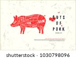 stock vector pork cuts diagram... | Shutterstock .eps vector #1030798096