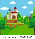 castle tower in the forest... | Shutterstock .eps vector #1030799668
