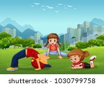 three kids playing in the... | Shutterstock .eps vector #1030799758