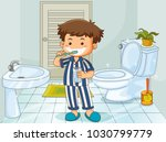 little boy brushing teeth in... | Shutterstock .eps vector #1030799779