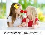 happy little sisters wearing...   Shutterstock . vector #1030799938