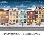 snow covered street with... | Shutterstock .eps vector #1030803919
