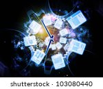 Backdrop composed of document icons, lights and abstract design elements and suitable for use on document processing, office paperwork, virtual workspace and cloud networking