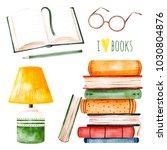 i love books watercolor set...   Shutterstock . vector #1030804876