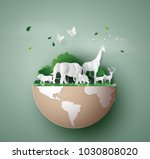 world wildlife day with the... | Shutterstock .eps vector #1030808020