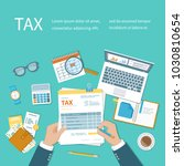 tax calculation payment concept.... | Shutterstock . vector #1030810654