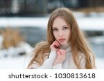 portrait of a young pretty girl ... | Shutterstock . vector #1030813618