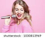 Happy Singing Girl. Beauty...