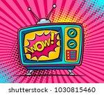 hand drawn comic retro tv set... | Shutterstock .eps vector #1030815460