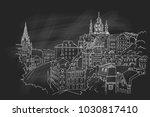 vector sketch of andrew descent ... | Shutterstock .eps vector #1030817410