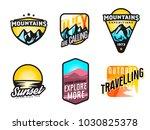 set of mountain themed modern...   Shutterstock .eps vector #1030825378