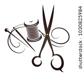 scissors and needle with thread ... | Shutterstock .eps vector #1030825984