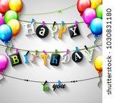 vector illustration of birthday ... | Shutterstock .eps vector #1030831180