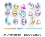 set of 3d render realistic... | Shutterstock . vector #1030832803