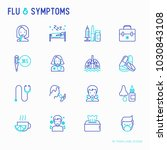flu and symptoms thin line... | Shutterstock .eps vector #1030843108
