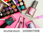 eyeshadow palette and nail... | Shutterstock . vector #1030847008