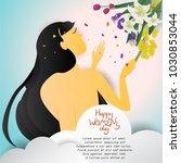 beautiful woman shape on cloud... | Shutterstock .eps vector #1030853044