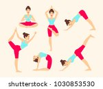 yoga poses. asanas. female... | Shutterstock .eps vector #1030853530