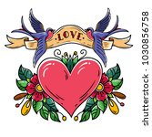 red heart decorated with... | Shutterstock .eps vector #1030856758