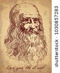 leonardo da vinci self portrait....   Shutterstock .eps vector #1030857283