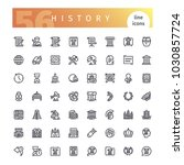 set of 56 history line icons... | Shutterstock .eps vector #1030857724