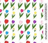 seamless flat flowers pattern.... | Shutterstock .eps vector #1030858024