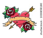 tattoo red heart pierced by... | Shutterstock .eps vector #1030858180