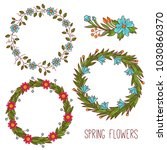 floral flower wreath colorful... | Shutterstock .eps vector #1030860370