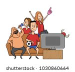 group of sport fans with... | Shutterstock .eps vector #1030860664