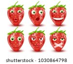 set of 3d strawberry emoticons. ... | Shutterstock .eps vector #1030864798
