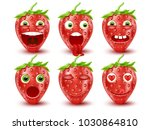 set of 3d strawberry emoticons. ... | Shutterstock .eps vector #1030864810
