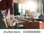 happy business partners playing ... | Shutterstock . vector #1030868080