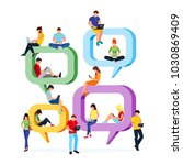 concept chat. young people sit... | Shutterstock . vector #1030869409
