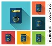 passport icon vector... | Shutterstock .eps vector #1030874530