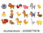 farm animals set  male farmer ...   Shutterstock .eps vector #1030877878