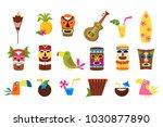 symbols of hawaii set  tiki... | Shutterstock .eps vector #1030877890