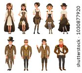 people dressed in historic... | Shutterstock .eps vector #1030877920