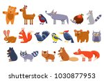 wild forest animals set  cute... | Shutterstock .eps vector #1030877953