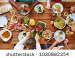 thanksgiving day  eating and... | Shutterstock . vector #1030882354