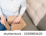 happy excited woman at home ... | Shutterstock . vector #1030883620