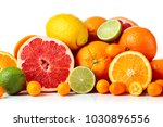 isolated citrus fruits. pieces... | Shutterstock . vector #1030896556