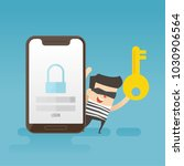concept of smartphone security  ... | Shutterstock .eps vector #1030906564