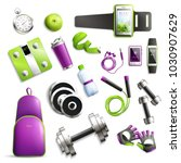 fitness gym realistic set with... | Shutterstock .eps vector #1030907629
