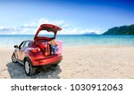 summer car with suitcase and... | Shutterstock . vector #1030912063