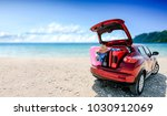 summer car with suitcase and... | Shutterstock . vector #1030912069